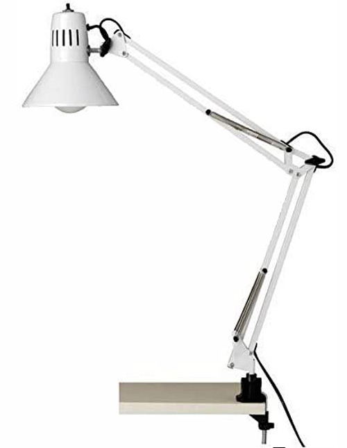 Brilliant HOBBY blanc : lampe de bureau architecteà pince