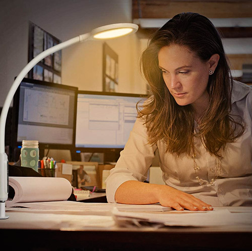 Hokone Lampe de bureau à LED Col de cygne Lampe à pince à bras pivotant Lampe d'architecte à gradation des températures
