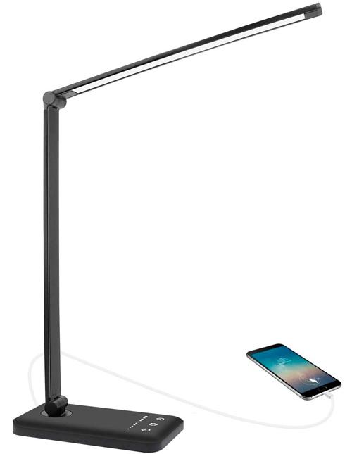 Lampe de Bureau,AUELEK Lampe de Bureau LED 52 LED Flexible USB Rechargeables avec Minuterie
