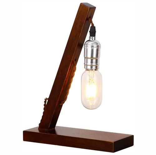 lampe vintage Injuicy Rétro Industriel Socle en Bois Métal