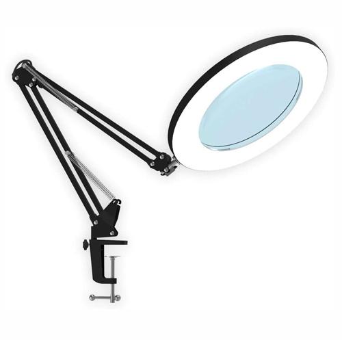 LED Lampe Loupe Noire 5X, Lampe de Bureau avec bras pivotant réglable