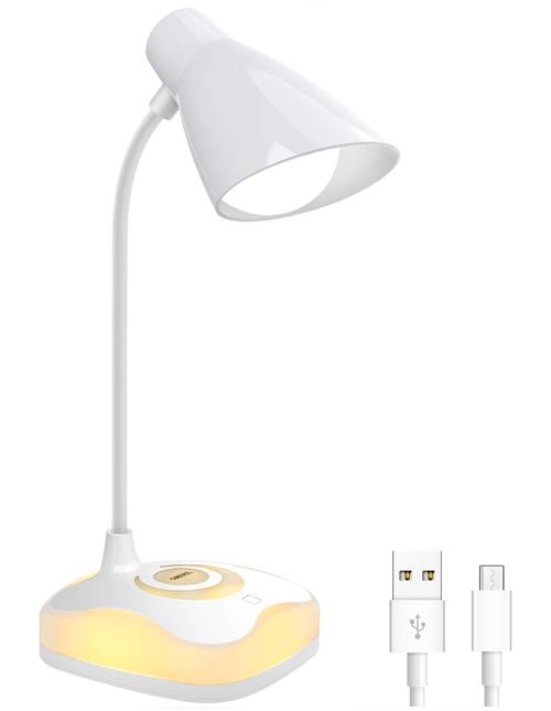 Lampe de Bureau, OMERIL Lampe Liseuse LED USB Rechargeable Cou Flexible, Protection des Yeux