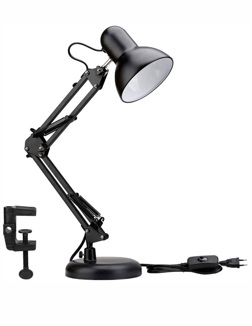 Lighting EVER Lampe de Bureau Industrielle Socle Solide avec Pince Montage