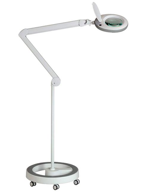 Lumeno Lampe loupe avec 96 LED, Bord de Caoutchouc Gris, Loupe d'agrandissement, Lentille avec 3, 5 ou 8 dioptries
