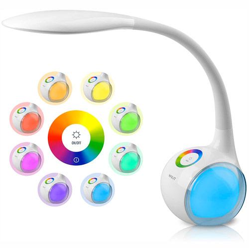 WILIT T3 Lampe de Bureau Enfants avec 256 RGB Veilleuse Ambiante, LED Lampe de Chevet Dimmable