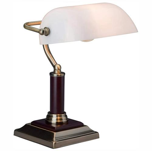 Elégante lampe de banquier, lampe de bureau, avec pied en bois, 1x E27 max. 60W, métal