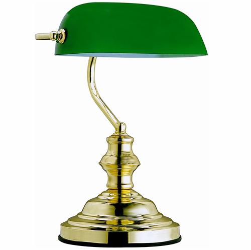 Globo Lampe de table lampe de banquier laiton verre Vert