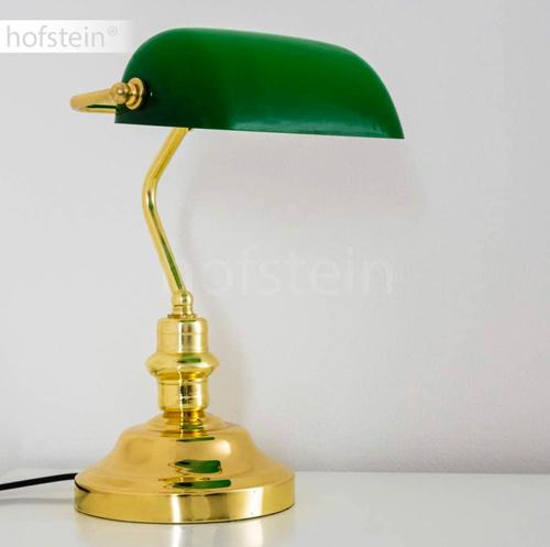 Hofstein Lampe de banquier rétro en métal aux finitions laiton poli
