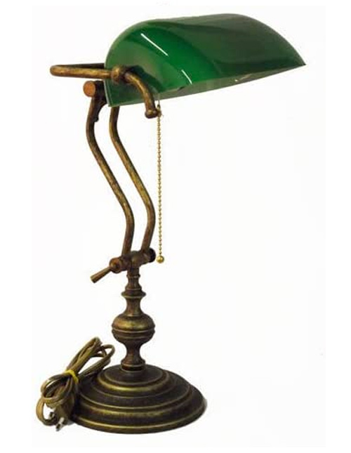 Lampe de table, style lampe de banquier, en verre vert et laiton - Fabriquée en Italie