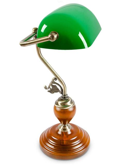 Relaxdays-10016607 Lampe de Bureau Banquier avec Abat-Jour en Verre Vert